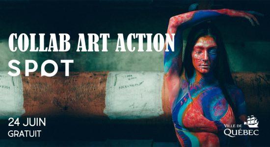 Bannière: une femme aux cheveux long noirs, tenant une pose artistique, est peinturée en rouge et bleu. Collab Art Action