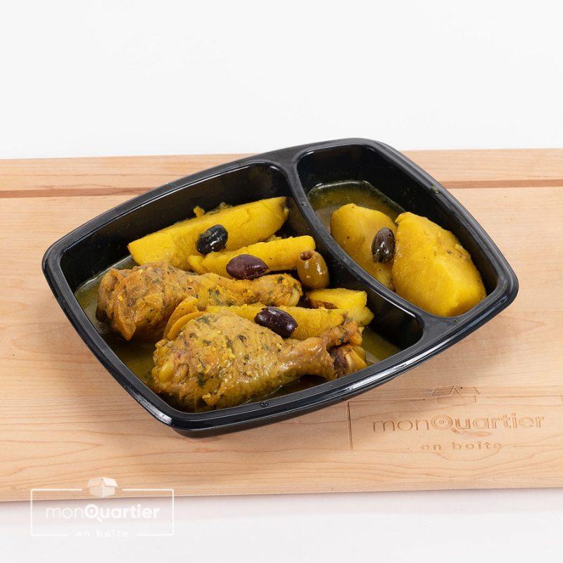 Cuisses de poulet, patates, citron confit et olives