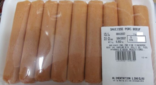 Présence non déclarée de graines de moutarde et de lait dans de la saucisse au porc et au bœuf - Monlimoilou