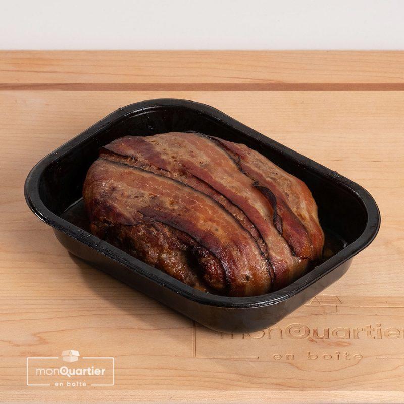 Pain de viande porc, pommes et bacon