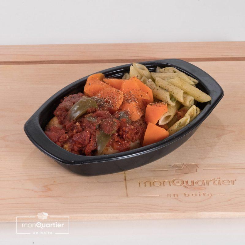 Saucisse italienne, pâtes et légumes