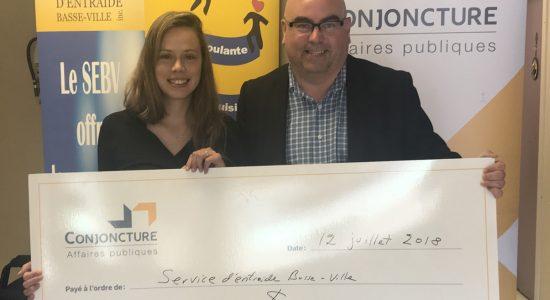LeService d'entraide Basse-Ville gagne le concours de Conjoncture affaires publiques - Suzie Genest