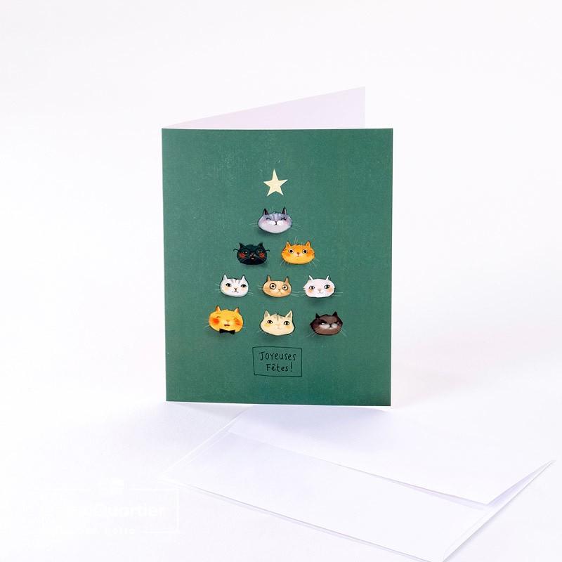 Carte de souhaits «sapin chats»