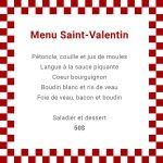 Menu de Saint-Valentin au Pied Bleu | Pied bleu (Le)