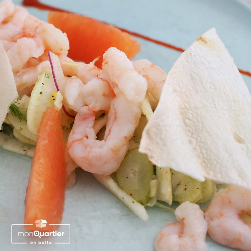 Salade de fenouil, pamplemousse et crevettes nordiques