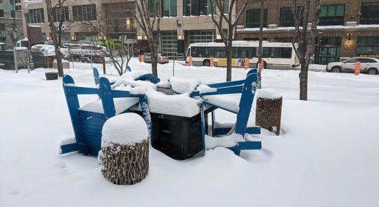 Réouverture de la halte-chaleur de la place de l'Université-du-Québec - Julie Rheaume