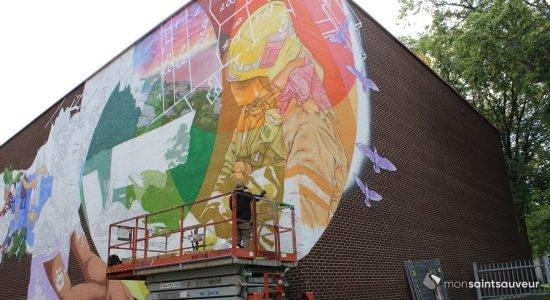Des travailleurs à l'honneur sur une murale au Centre Durocher - Viktoria Miojevic